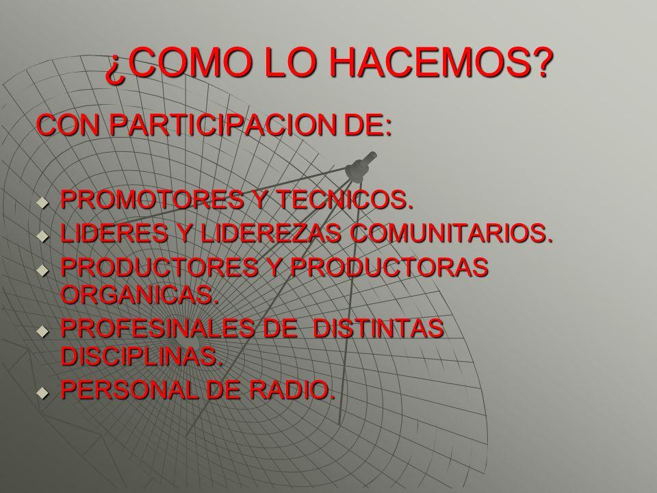 ¿COMO LO HACEMOS? CON PARTICIPACION DE: PROMOTORES Y TECNICOS. PROMOTORES Y TECNICOS. LIDERES Y LIDEREZAS COMUNITARIOS. LIDERES Y LIDEREZAS COMUNITARI