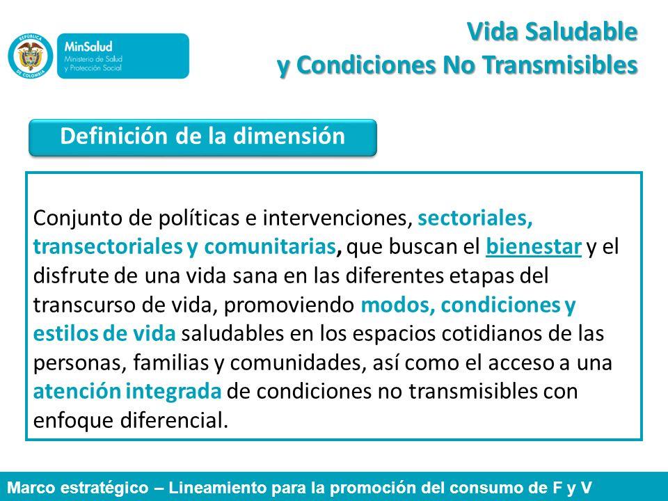 Vida Saludable y Condiciones No Transmisibles Conjunto de políticas e intervenciones, sectoriales, transectoriales y comunitarias, que buscan el biene