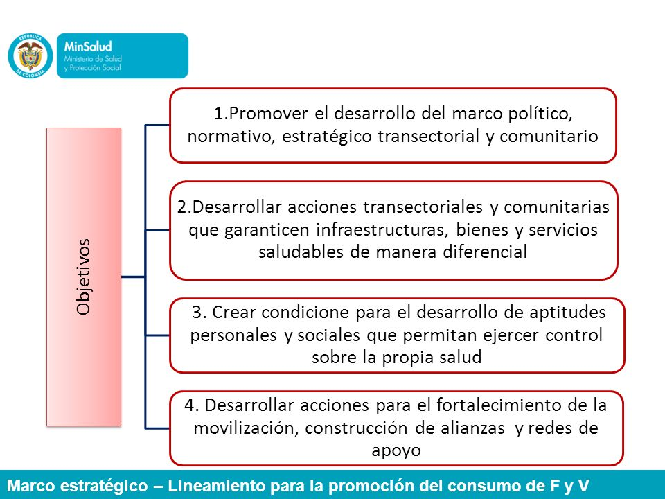 Objetivos 1.Promover el desarrollo del marco político, normativo, estratégico transectorial y comunitario 2.Desarrollar acciones transectoriales y com