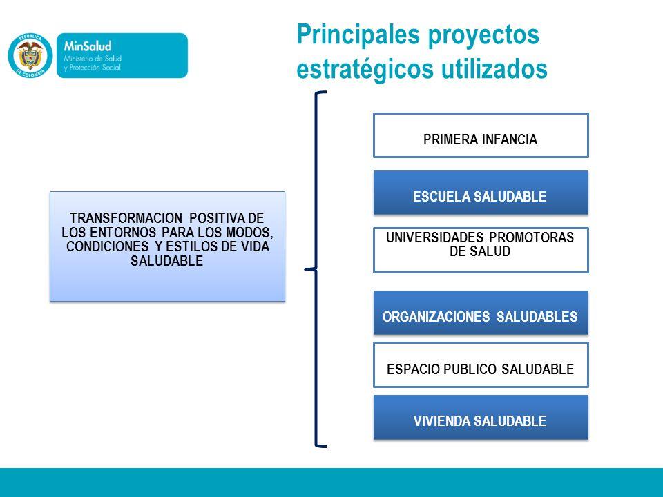 Principales proyectos estratégicos utilizados TRANSFORMACION POSITIVA DE LOS ENTORNOS PARA LOS MODOS, CONDICIONES Y ESTILOS DE VIDA SALUDABLE PRIMERA