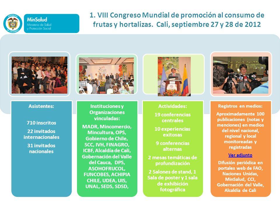 Asistentes: 710 inscritos 22 invitados internacionales 31 invitados nacionales Instituciones y Organizaciones vinculadas: MADR, Mincomercio, Mincultur