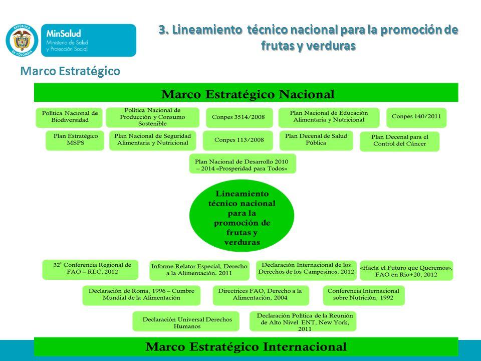 Marco Estratégico 3. Lineamiento técnico nacional para la promoción de frutas y verduras