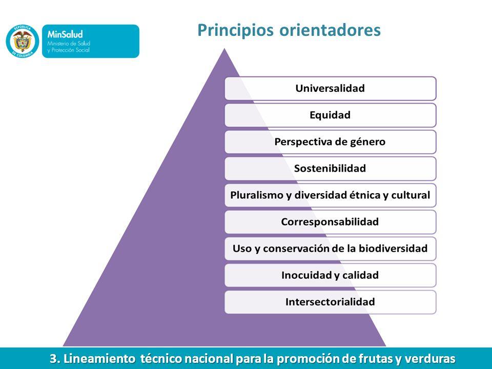 Principios orientadores 3. Lineamiento técnico nacional para la promoción de frutas y verduras