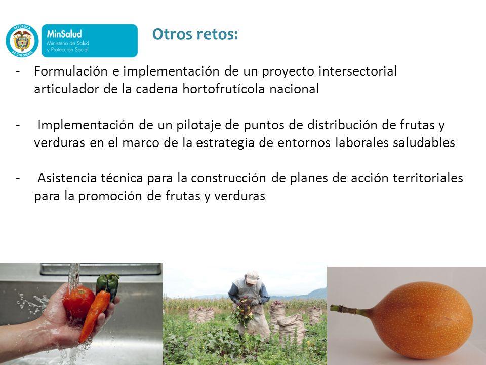 Otros retos: -Formulación e implementación de un proyecto intersectorial articulador de la cadena hortofrutícola nacional - Implementación de un pilot