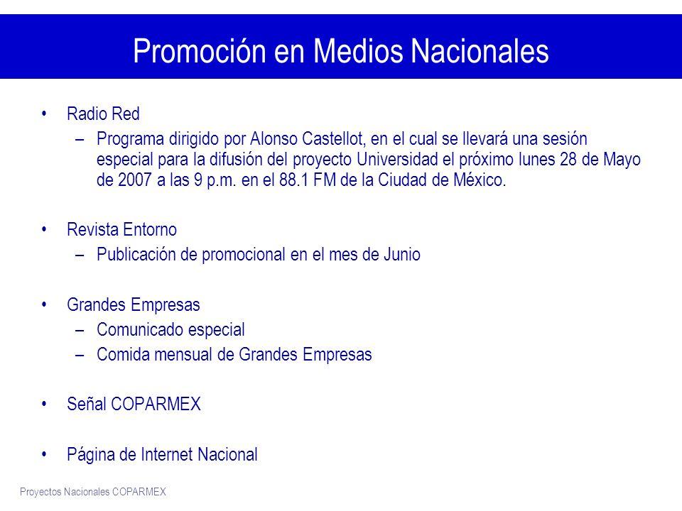 Proyectos Nacionales COPARMEX Promoción en Medios Nacionales Radio Red –Programa dirigido por Alonso Castellot, en el cual se llevará una sesión especial para la difusión del proyecto Universidad el próximo lunes 28 de Mayo de 2007 a las 9 p.m.