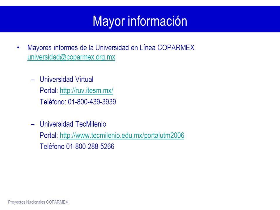 Proyectos Nacionales COPARMEX Mayor información Mayores informes de la Universidad en Línea COPARMEX universidad@coparmex.org.mx universidad@coparmex.org.mx –Universidad Virtual Portal: http://ruv.itesm.mx/http://ruv.itesm.mx/ Teléfono: 01-800-439-3939 –Universidad TecMilenio Portal: http://www.tecmilenio.edu.mx/portalutm2006http://www.tecmilenio.edu.mx/portalutm2006 Teléfono 01-800-288-5266