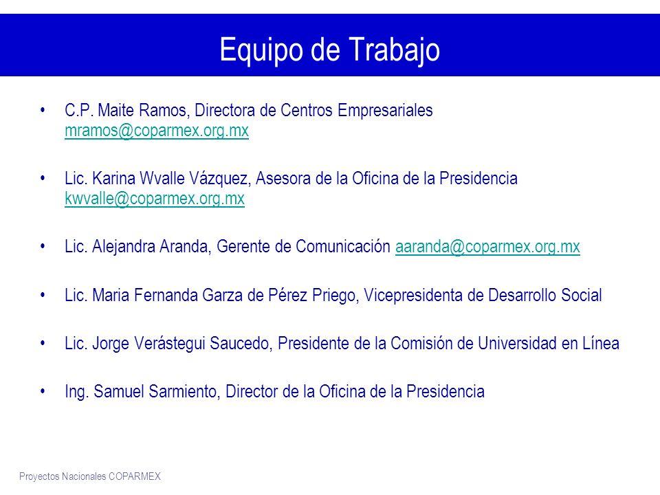 Proyectos Nacionales COPARMEX Equipo de Trabajo C.P.