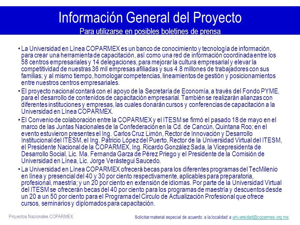 Proyectos Nacionales COPARMEX Material de Promoción Impreso: posters de los diferentes programas de estudios Solicitar cantidad de material al correo universidad@coparmex.org.mxuniversidad@coparmex.org.mx