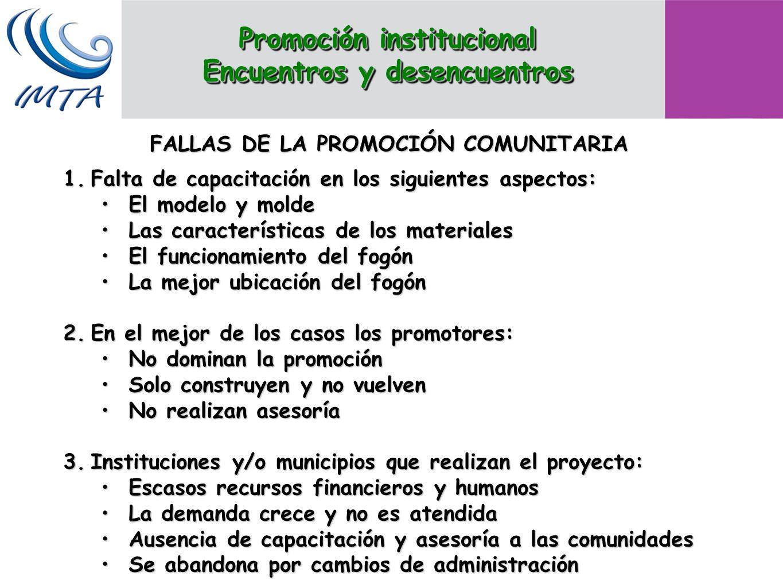 FALLAS DE LA PROMOCIÓN COMUNITARIA 1.Falta de capacitación en los siguientes aspectos: El modelo y moldeEl modelo y molde Las características de los m