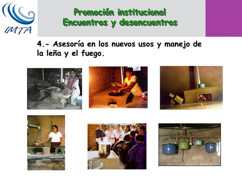 4.- Asesoría en los nuevos usos y manejo de la leña y el fuego. Promoción institucional Encuentros y desencuentros Promoción institucional Encuentros
