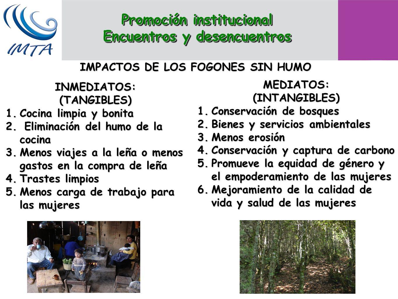 IMPACTOS DE LOS FOGONES SIN HUMO INMEDIATOS:(TANGIBLES) 1.Cocina limpia y bonita 2. Eliminación del humo de la cocina 3.Menos viajes a la leña o menos