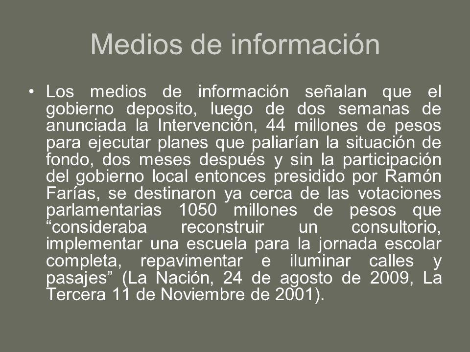 Medios de información Los medios de información señalan que el gobierno deposito, luego de dos semanas de anunciada la Intervención, 44 millones de pe