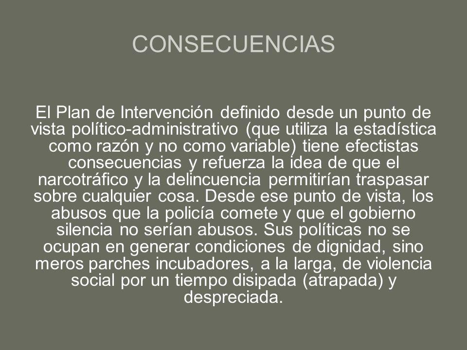 CONSECUENCIAS El Plan de Intervención definido desde un punto de vista político-administrativo (que utiliza la estadística como razón y no como variab