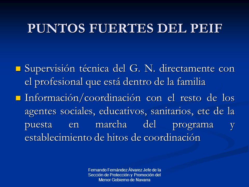 Fernando Fernández Álvarez Jefe de la Sección de Protección y Promoción del Menor Gobierno de Navarra PUNTOS FUERTES DEL PEIF Supervisión técnica del G.