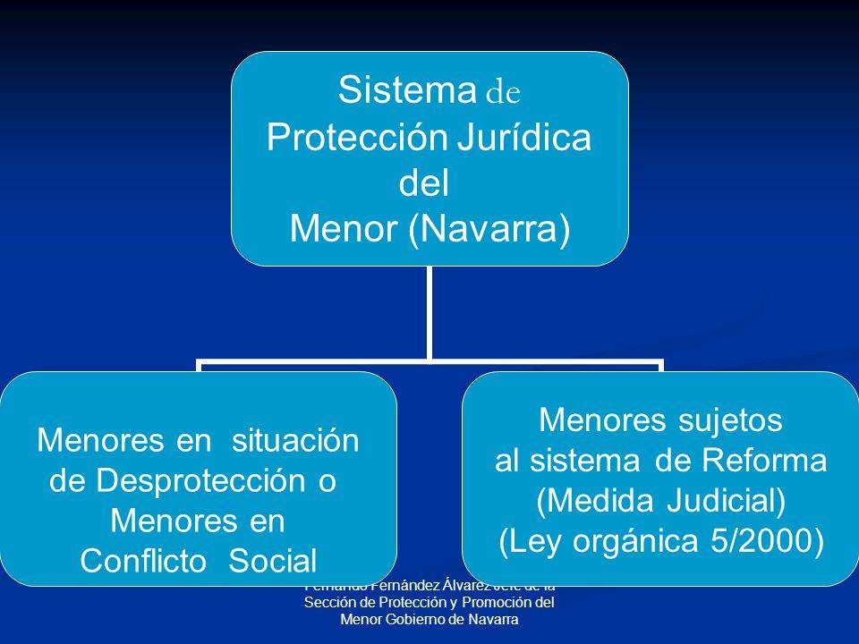 Fernando Fernández Álvarez Jefe de la Sección de Protección y Promoción del Menor Gobierno de Navarra Sistema de Protección Jurídica del Menor (Navarra) Menores en situación de Desprotección o Menores en Conflicto Social Menores sujetos al sistema de Reforma (Medida Judicial) (Ley orgánica 5/2000)