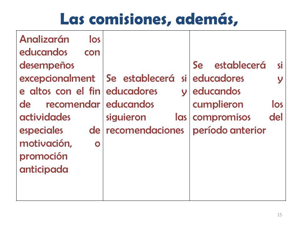 15 Las comisiones, además, Analizarán los educandos con desempeños excepcionalment e altos con el fin de recomendar actividades especiales de motivaci