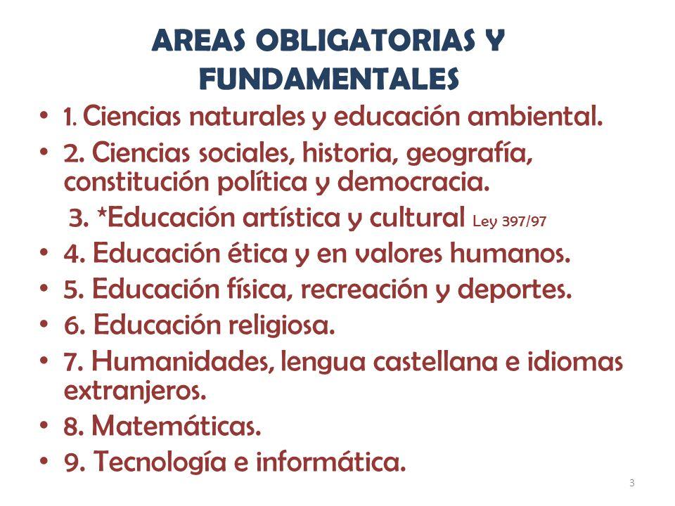 3 AREAS OBLIGATORIAS Y FUNDAMENTALES 1. Ciencias naturales y educación ambiental. 2. Ciencias sociales, historia, geografía, constitución política y d
