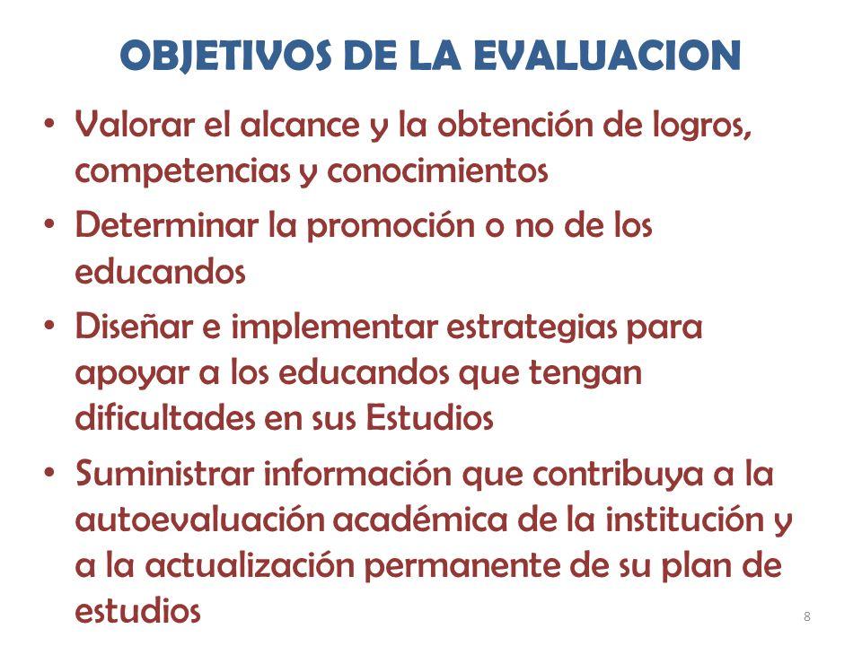 8 OBJETIVOS DE LA EVALUACION Valorar el alcance y la obtención de logros, competencias y conocimientos Determinar la promoción o no de los educandos D