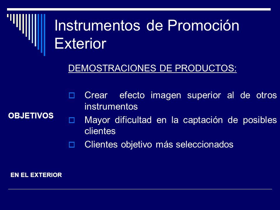 Instrumentos de Promoción Exterior DEMOSTRACIONES DE PRODUCTOS: Crear efecto imagen superior al de otros instrumentos Mayor dificultad en la captación