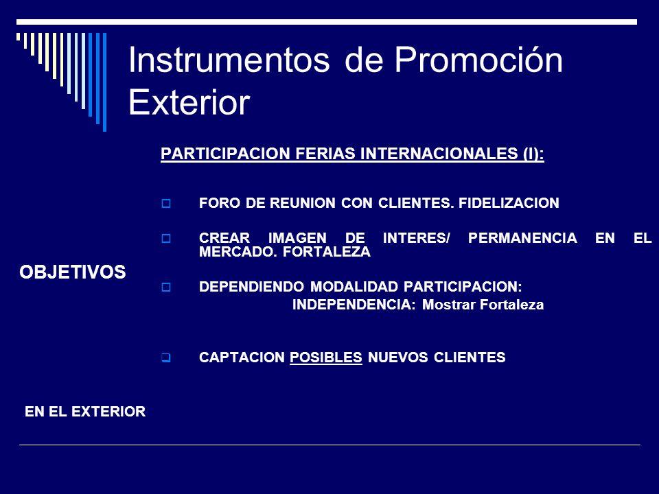 Instrumentos de Promoción Exterior PARTICIPACION FERIAS INTERNACIONALES (I): FORO DE REUNION CON CLIENTES. FIDELIZACION CREAR IMAGEN DE INTERES/ PERMA