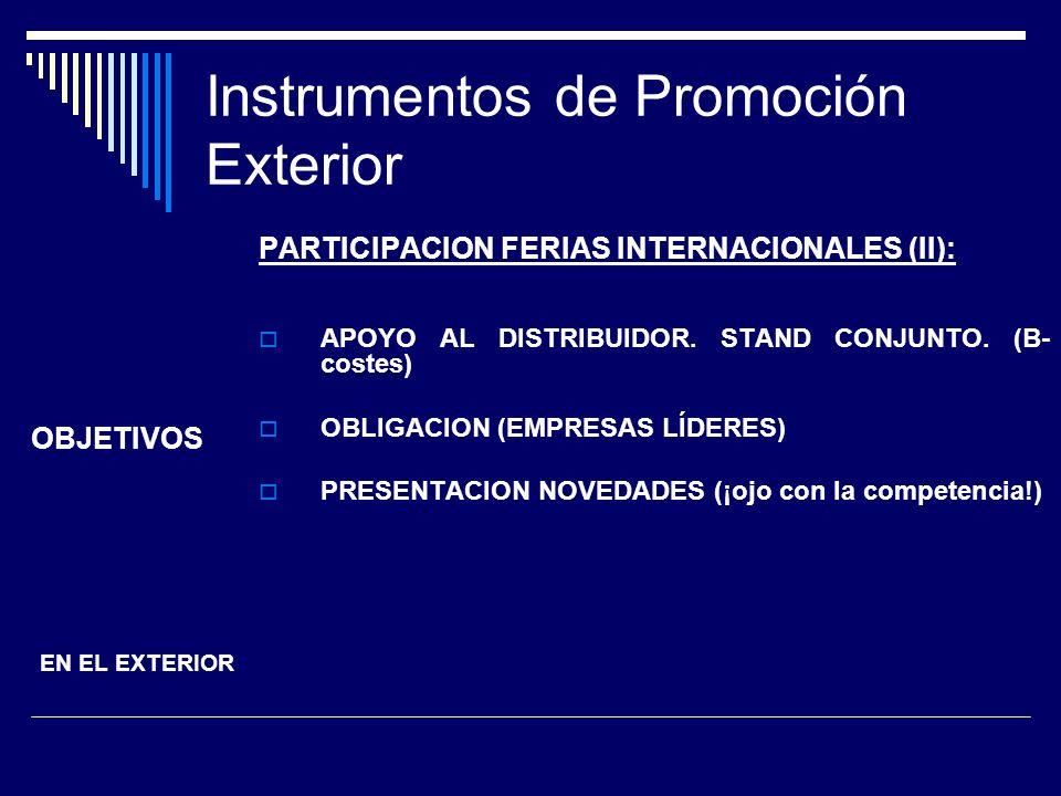 Instrumentos de Promoción Exterior PARTICIPACION FERIAS INTERNACIONALES (II): APOYO AL DISTRIBUIDOR. STAND CONJUNTO. (B- costes) OBLIGACION (EMPRESAS