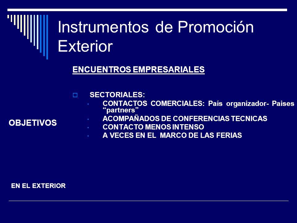 Instrumentos de Promoción Exterior ENCUENTROS EMPRESARIALES SECTORIALES: CONTACTOS COMERCIALES: País organizador- Paises partners ACOMPAÑADOS DE CONFE