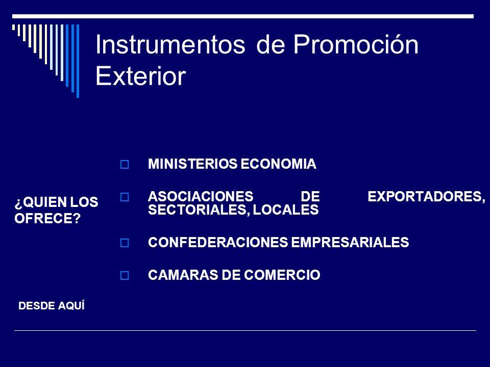Instrumentos de Promoción Exterior MINISTERIOS ECONOMIA ASOCIACIONES DE EXPORTADORES, SECTORIALES, LOCALES CONFEDERACIONES EMPRESARIALES CAMARAS DE CO
