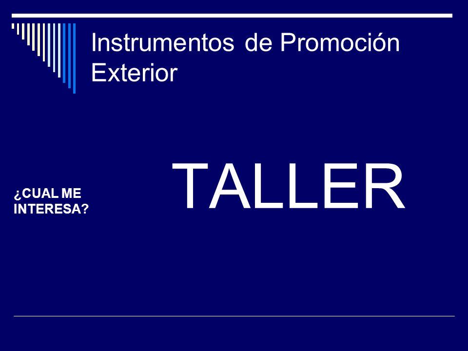 Instrumentos de Promoción Exterior TALLER ¿CUAL ME INTERESA?