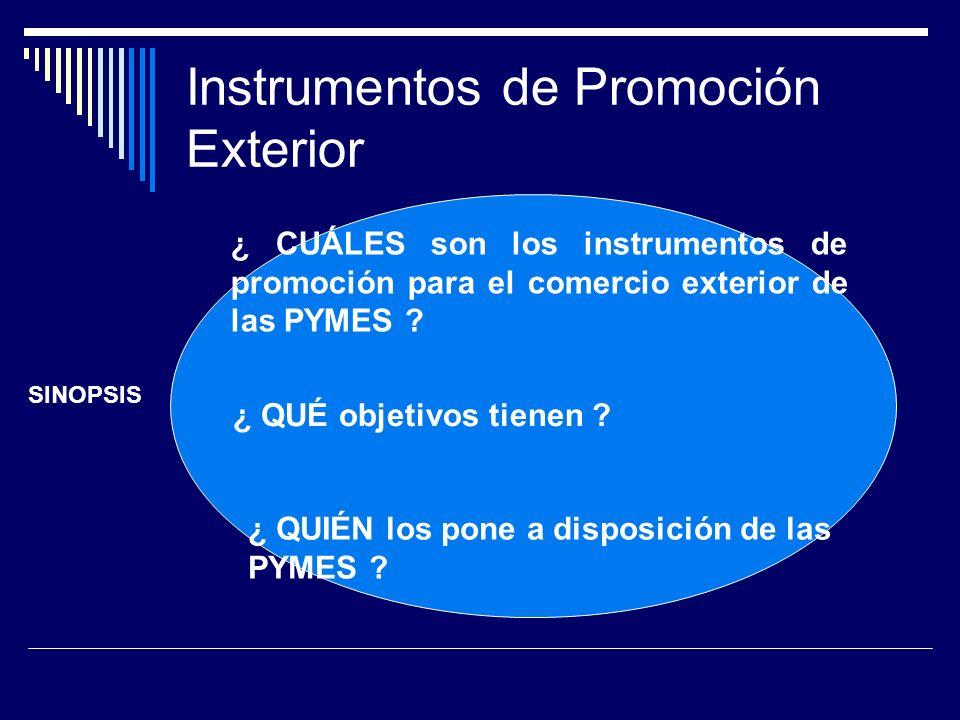 Instrumentos de Promoción Exterior VISITA FERIAS INTERNACIONALES: ESTUDIAR NUEVAS TENDENCIAS, MATERIALES, CALIDADES ANALIZAR LA COMPETENCIA: INTERNACIONAL, NACIONAL CONSEGUIR INFORMACION DE PRECIOS (mayor dificultad) VALORAR PROXIMAS PARTICIPACIONES EN ESE CERTAMEN: Ver tránsito de visitantes Entrevistar Empresas conocidas Reservar espacio, hoteles.