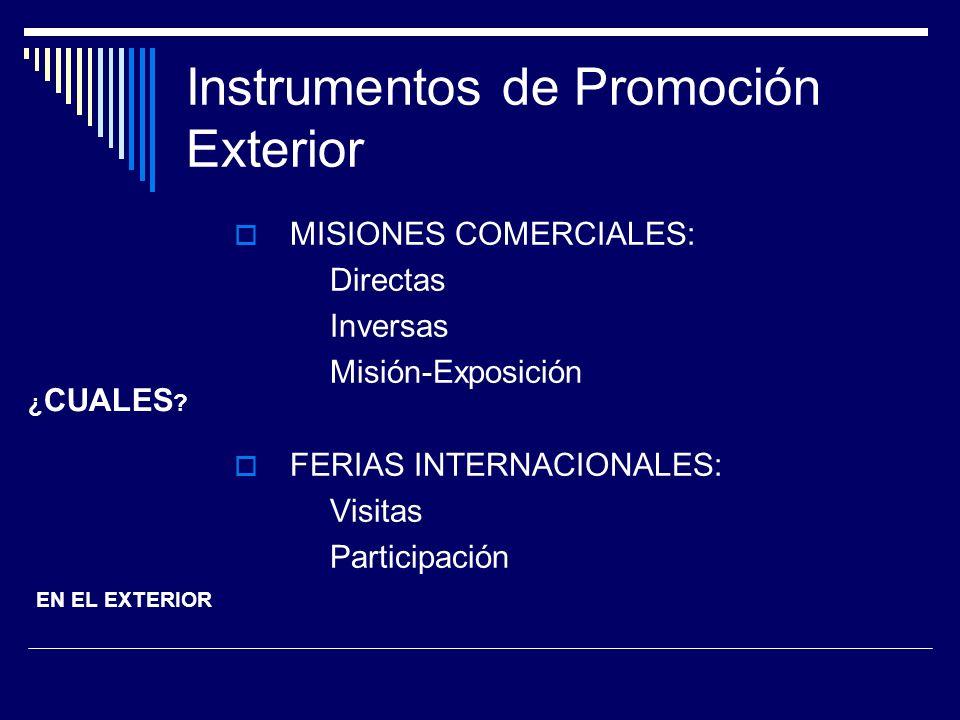Instrumentos de Promoción Exterior MISIONES COMERCIALES: Directas Inversas Misión-Exposición FERIAS INTERNACIONALES: Visitas Participación ¿ CUALES ?