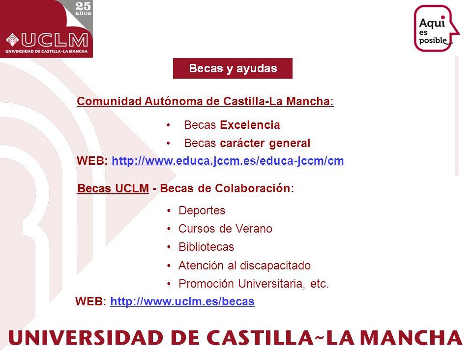 Becas UCLM Becas UCLM - Becas de Colaboración: Deportes Cursos de Verano Bibliotecas Atención al discapacitado Promoción Universitaria, etc. Comunidad