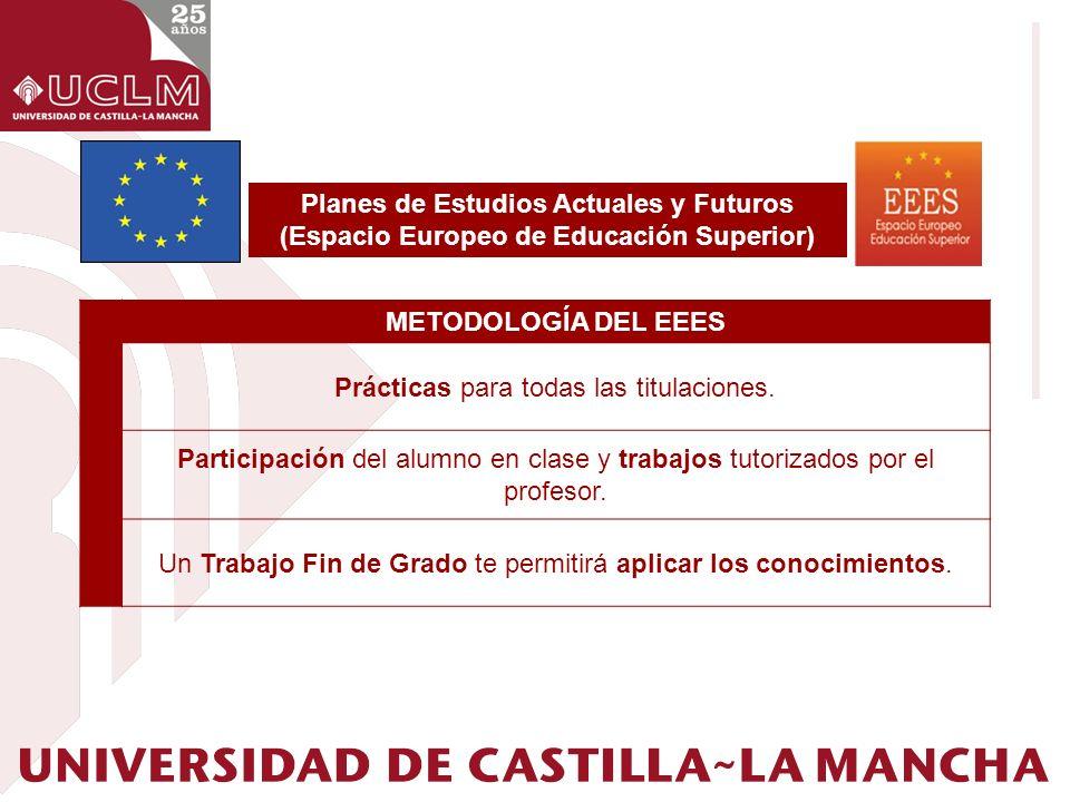 Planes de Estudios Actuales y Futuros (Espacio Europeo de Educación Superior) METODOLOGÍA DEL EEES Prácticas para todas las titulaciones. Participació