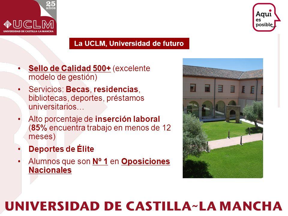 Sello de Calidad 500+Sello de Calidad 500+ (excelente modelo de gestión) Servicios: Becas, residencias, bibliotecas, deportes, préstamos universitario