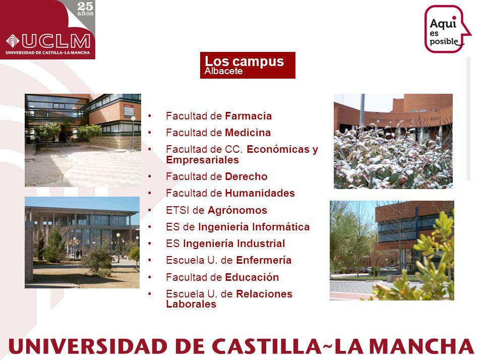 Los campus Albacete Facultad de Farmacia Facultad de Medicina Facultad de CC. Económicas y Empresariales Facultad de Derecho Facultad de Humanidades E