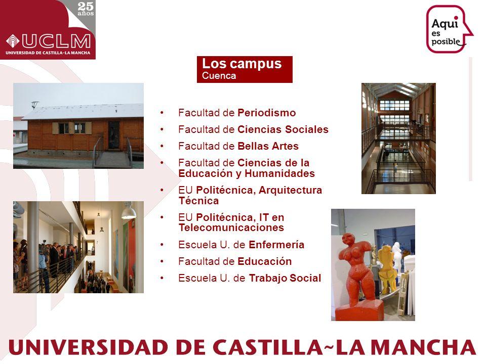 Los campus Cuenca Facultad de Periodismo Facultad de Ciencias Sociales Facultad de Bellas Artes Facultad de Ciencias de la Educación y Humanidades EU