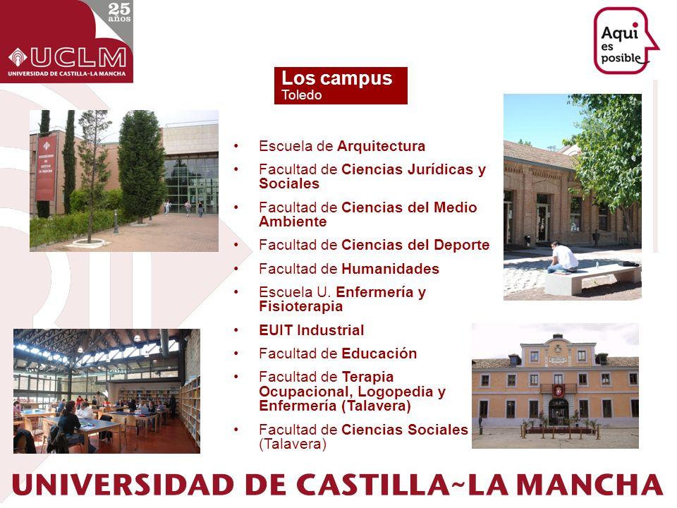 Los campus Toledo Escuela de Arquitectura Facultad de Ciencias Jurídicas y Sociales Facultad de Ciencias del Medio Ambiente Facultad de Ciencias del D