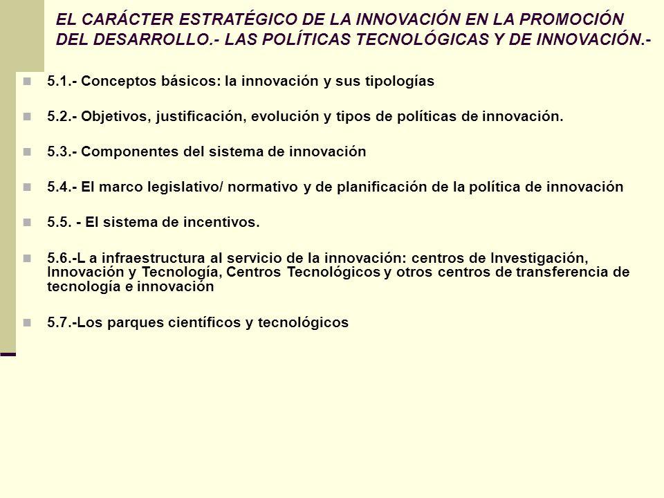 EL CARÁCTER ESTRATÉGICO DE LA INNOVACIÓN EN LA PROMOCIÓN DEL DESARROLLO.- LAS POLÍTICAS TECNOLÓGICAS Y DE INNOVACIÓN.- 5.1.- Conceptos básicos: la inn