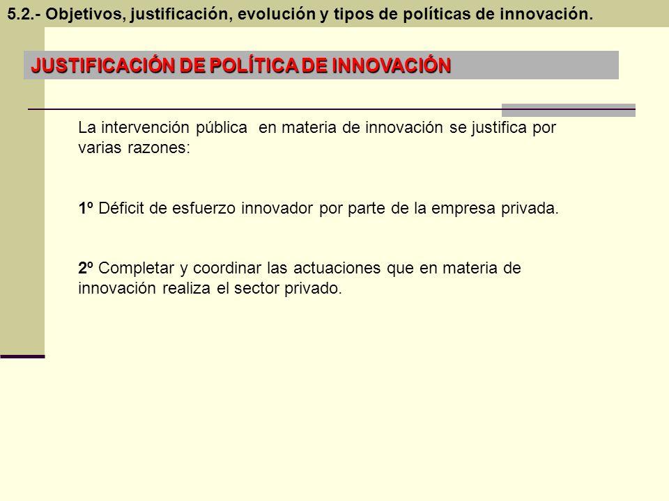 JUSTIFICACIÓN DE POLÍTICA DE INNOVACIÓN La intervención pública en materia de innovación se justifica por varias razones: 1º Déficit de esfuerzo innov