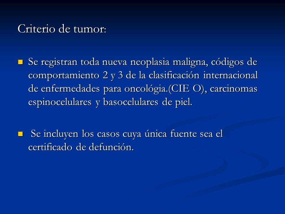Criterio de tumor : Se registran toda nueva neoplasia maligna, códigos de comportamiento 2 y 3 de la clasificación internacional de enfermedades para oncológia.(CIE O), carcinomas espinocelulares y basocelulares de piel.