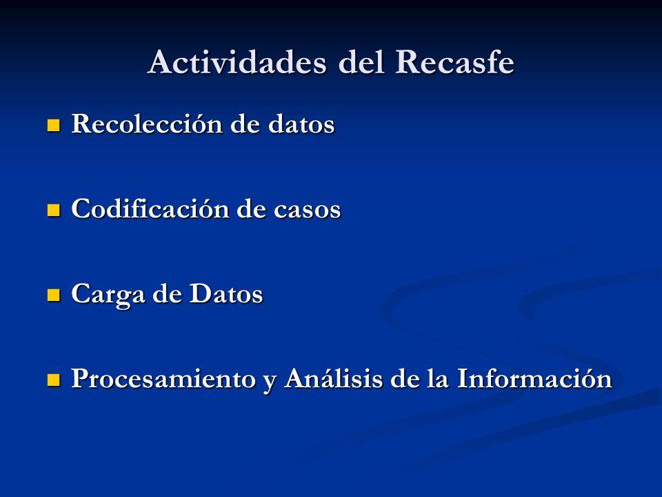 Actividades del Recasfe Recolección de datos Recolección de datos Codificación de casos Codificación de casos Carga de Datos Carga de Datos Procesamiento y Análisis de la Información Procesamiento y Análisis de la Información