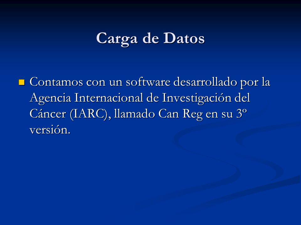 Carga de Datos Contamos con un software desarrollado por la Agencia Internacional de Investigación del Cáncer (IARC), llamado Can Reg en su 3º versión.