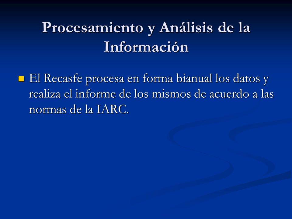 Procesamiento y Análisis de la Información El Recasfe procesa en forma bianual los datos y realiza el informe de los mismos de acuerdo a las normas de la IARC.