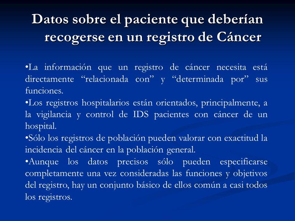 Datos sobre el paciente que deberían recogerse en un registro de Cáncer La información que un registro de cáncer necesita está directamente relacionada con y determinada por sus funciones.