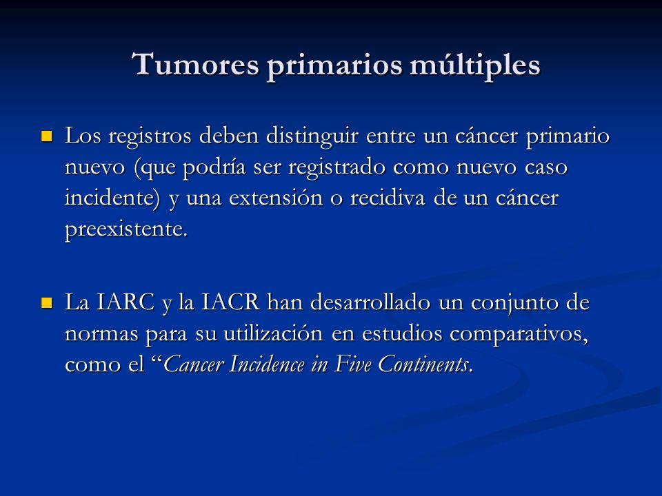 Tumores primarios múltiples Tumores primarios múltiples Los registros deben distinguir entre un cáncer primario nuevo (que podría ser registrado como nuevo caso incidente) y una extensión o recidiva de un cáncer preexistente.