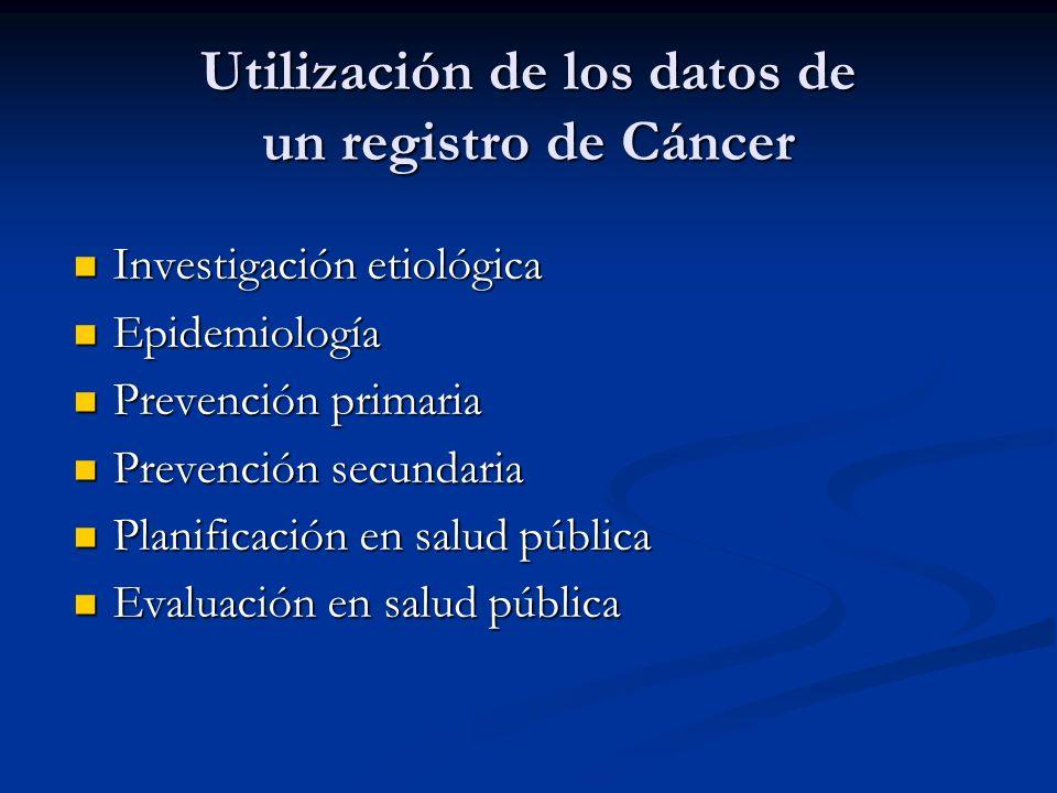 Utilización de los datos de un registro de Cáncer Investigación etiológica Investigación etiológica Epidemiología Epidemiología Prevención primaria Prevención primaria Prevención secundaria Prevención secundaria Planificación en salud pública Planificación en salud pública Evaluación en salud pública Evaluación en salud pública