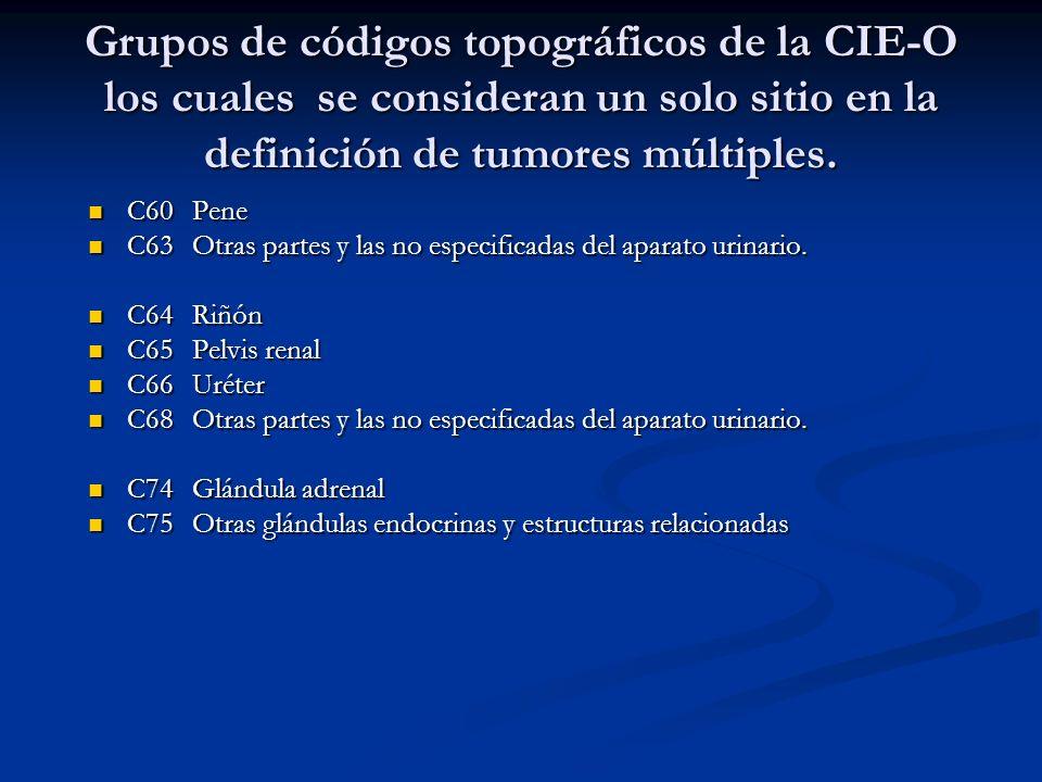 Grupos de códigos topográficos de la CIE-O los cuales se consideran un solo sitio en la definición de tumores múltiples.