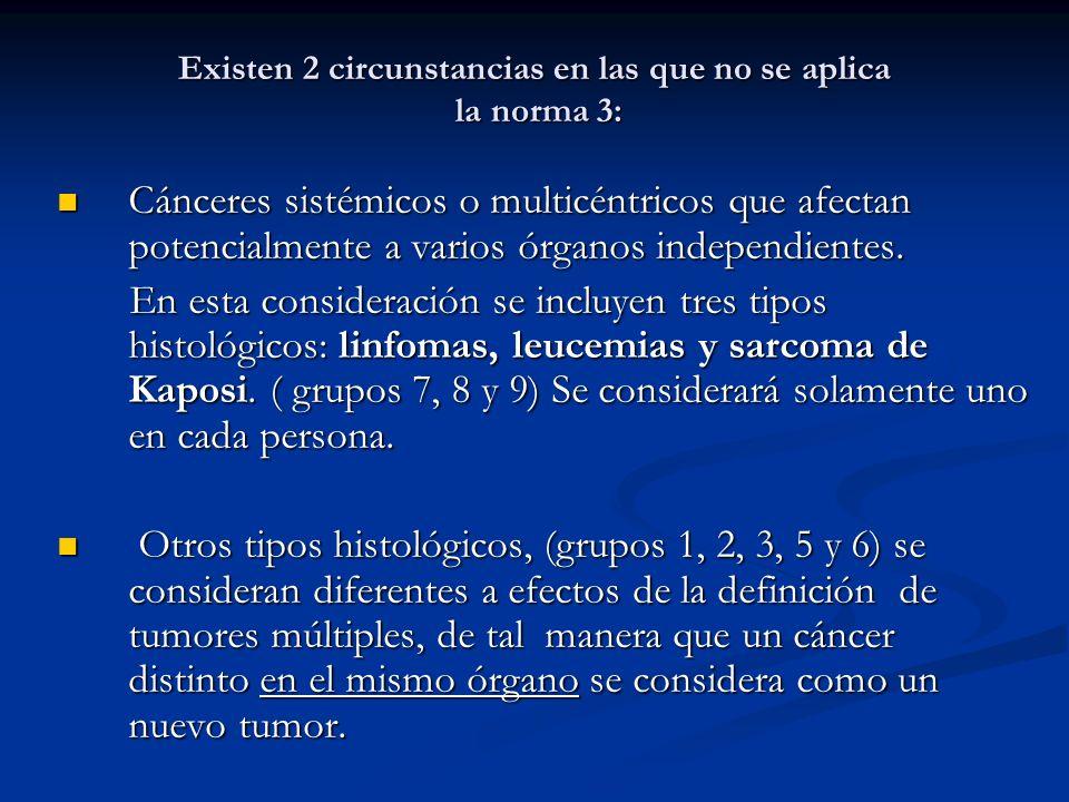 Existen 2 circunstancias en las que no se aplica la norma 3: Cánceres sistémicos o multicéntricos que afectan potencialmente a varios órganos independientes.