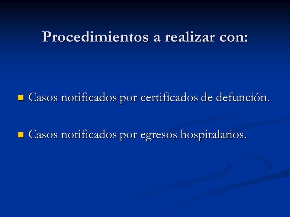 Procedimientos a realizar con: Casos notificados por certificados de defunción.