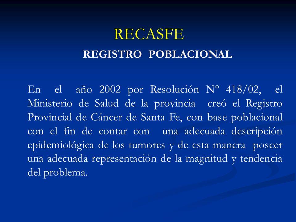 RECASFE Objetivo general Recolectar, almacenar, analizar e interpretar todos los casos de tumores diagnosticados en instituciones públicas y privadas de Salud de la Provincia de Santa Fe.