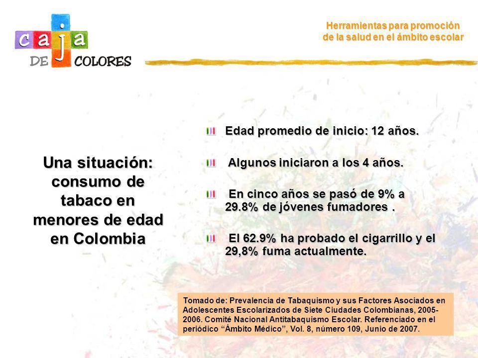 Una situación: consumo de tabaco en menores de edad en Colombia Herramientas para promoción de la salud en el ámbito escolar Edad promedio de inicio: 12 años.